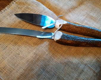 "knife and cake server, set of 2, natural dark brown/ivory HEAVY/THICK Elk Antler handles ..sharp serrated knife is 15"" long, stainless steel"