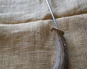 "BBQ utensil to hook/ flip the meat over, Steak hook, Pig Tail...great for roasts, ribs, chicken, chops, etc. 17"" long, LG Deer antler handle"