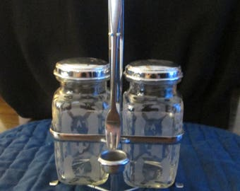 Vintage Two Jar Pickle Condiment Set by Northland Stainless with Fork & Drip Cup