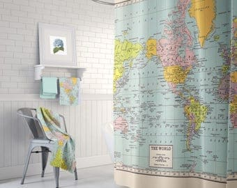 World Map Shower Curtain - Historical , colorful, vintage map - Home Decor - Bathroom - geography, history, travel, blue, green pastel