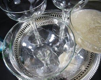Vintage Coupe Glasses Crystal Champagne Flutes Champagne Hollow Stem Glasses Set of 4