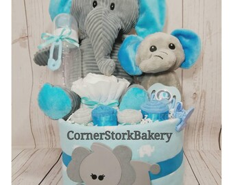 Elephant Diaper Cake  Mommy & Baby Elephant Baby Gift  Elephant Baby Gifts  Elephant Baby Shower Centerpiece  Diaper Cake  Baby Gifts  Baby