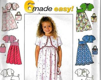 Simplicity 9051       Girls Sundress, Jacket and Purse      Size 3-8   UNCUT