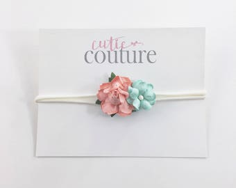 Coral Headband, Mint Headband, coral and mint headband, newborn photo prop, Coral Flower Headband, nylon headband,Coral flower girl Headband