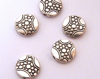 Round, flat, silver metal beads, decorated diameter: 12 mm, 5 sets