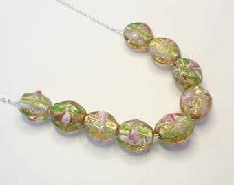 pink necklace, pastel necklace, lampwork necklace, gold necklace, flower necklace,  pink and green necklace, delicate necklace