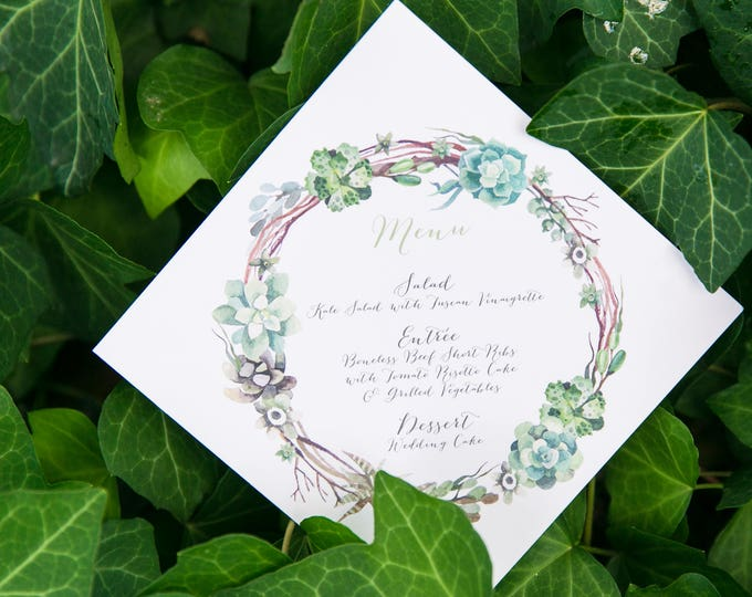 5x5 Square Greenery Branches Leaves Succulents Printed Wedding Menu