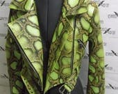 Green Python vegan leather Jacket