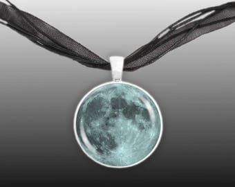 The Blue Moon of Earth Astronomy Pendant Necklace in Silver Tone * FREE Shipping in USA *