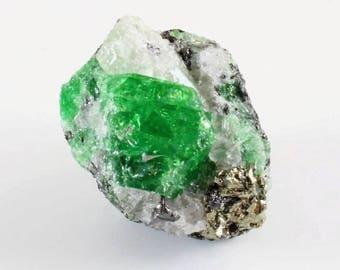 Tsavorite Garnet Cluster with Quartz and Pyrite, M-912