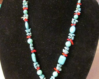 Vintage, turquoise, coral, beaded, necklace