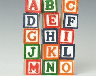 "Miniature Wooden Letter Blocks with Holes, set of 15, 5/8"" alphabet blocks, alphabet bead"