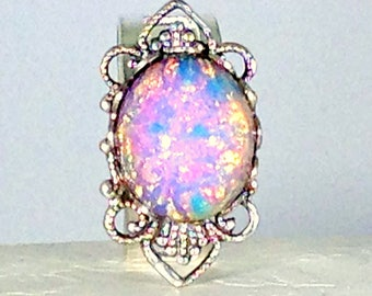 Pink Dragon's Breath Opal Ring, Teen Jewelry, Pink Opal, Filigree Ring, Adjustable Rings, Statement Ring, Glass Ring, Silver Plated Ring