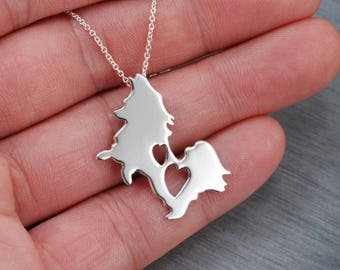 Papillon Butterfly dog lover's gift  Handcrafted sterling silver necklace
