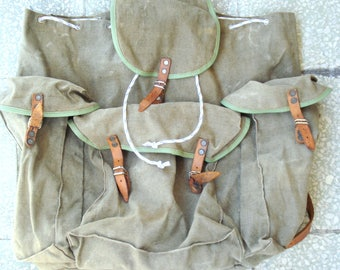 Vintage Big Military Canvas Backpack/ Green Bulgarian Canvas Backpack/ Rucksack/ Hiking Bag/ Canvas(Leather) Straps/1970s