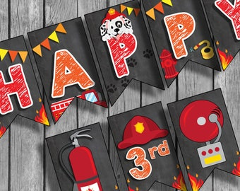 Fire Truck Banner, Fire truck birthday party, Fire truck party banner, Fire fighter Printable, Fire truck party,  #FT1 Banner