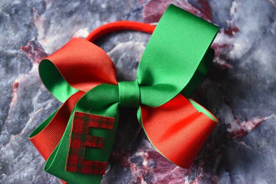 Festive Green and Red Tartan Initial Bow - Baby / Toddler / Girls / Kids Headband / Hairband / Hair bow / Barrette / Hairclip