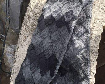 Charcoal  entrelac scarf