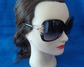 Vintage Black Sunglasses with Gold Accents