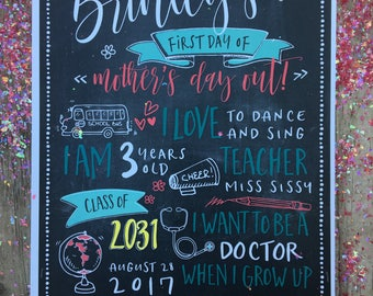 GIRLY First Day of School Chalkboard - 1st Day of School Sign - Mother's Day Out Sign - DIGITAL FILE