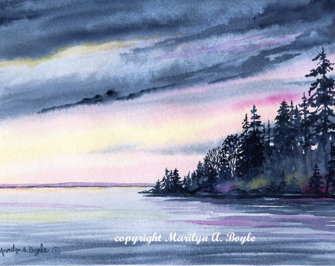 PAINTING ORIGINAL WATERCOLOR, Lake scene, free shipping for Christmas, Canadian Art, wall art, landscape, sunrise, misty shores,