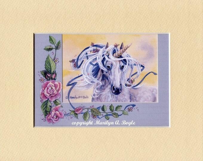 ENHANCED UNICORN PRINT; 8 x 10 matted unicorn enhanced with tiny pearls, roses trim, cream mat, original art,romance