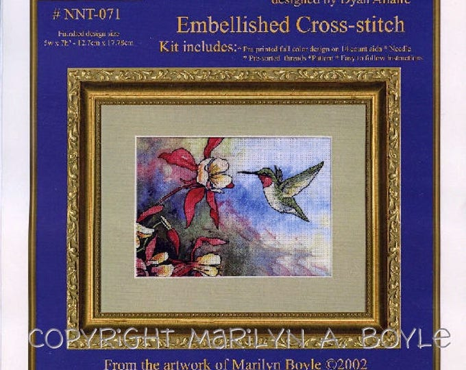 eMBELLISHED CROSS STITCH Hummingbird kit,from my art work, pre-printed color design,14 count aida,needle, threads, pattern, instructions