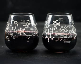 Chemistry of Red Wine Stemless Glass Set | But First Wine, Girlfriend Gift, Gifts for Men, Science Nerd Gift, Gifts for her, Wine Science