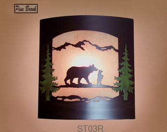 Wall Sconce Rustic Bears Light, Cabin Decor Lamp, Hand Painted Pine Tree, Right Facing