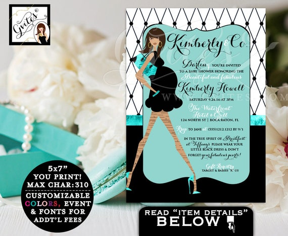 Baby & Co BABY SHOWER invitations, breakfast at blue themed party, African American mommy-to-be, parisian fashion designer, PRINTABLE, 5x7