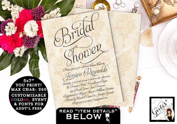 Gold bridal shower printable invitations, pearls lace bridal invites, ivory bridal shower, gold lace printable wedding shower invitation 5x7