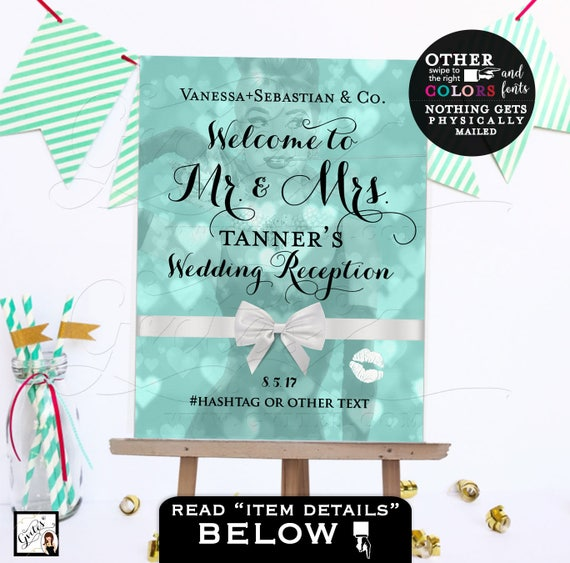 Welcome wedding sign, wedding reception custom signs, mr. and mrs. poster customizable colors, text and fonts, printable file.