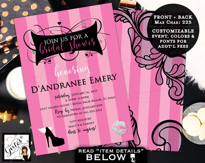 Victoria Secret Bridal Shower Invitation, pink party invitations, pink black lace silver, fashion designer, glitz glam, 5x7 double sided.