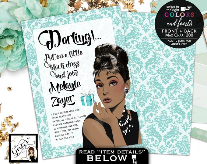Breakfast at Tiffany's birthday invitation, Audrey Hepburn 50th African American, adult women birthday double sided, 5x7, Digital File ONLY!
