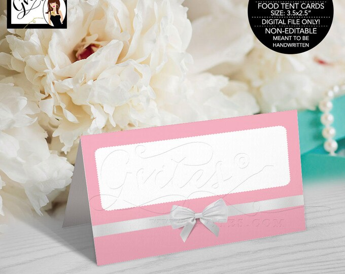 "Food Tent Cards, breakfast at tiffany's themed pink and white, blue and white, birthday, bridal shower, decor Folded: 3.5x2.5"" 4 Per/Sheet"
