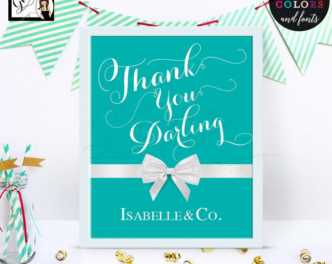 Thank you darling, breakfast at blue themed, table signs, thank you darling decorations, birthday, bridal shower, 8x10 Digital File Only!