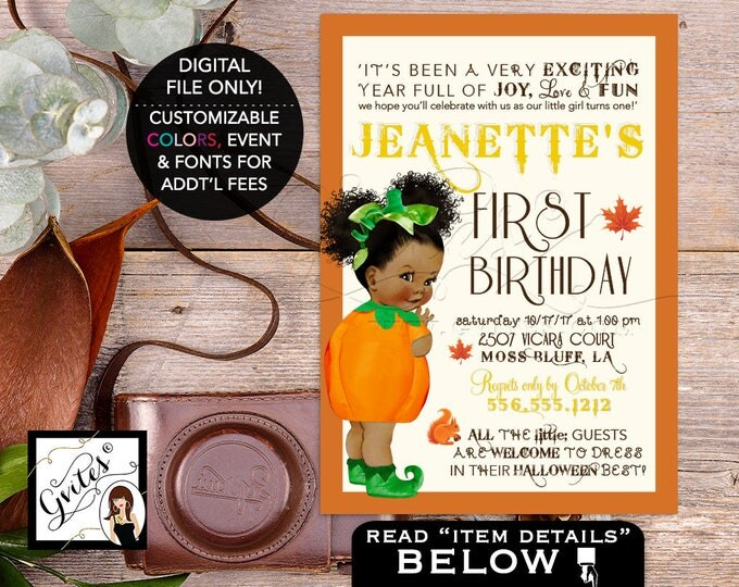 Our little Pumpkin is turning one African American Baby Girl, Pumpkin 1st fall invites birthday, afro puffs PRINTABLE, DIY Digital, 5x7