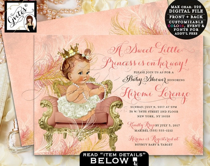 Coral and Gold Baby Shower, Princess Baby Invitation, Vintage, Ivory Gold and Coral Peach invites, Double Sided, 7x5, digital file only!