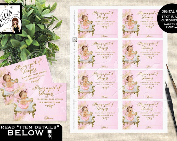 "Pink and Gold Diaper Raffle Tickets Inserts, Vintage Baby Shower, Ribbons Bows Diamonds Pearls, DIY, Digital, Printable 3.5x2.5"" 8/Sheet."