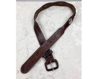 Hand tooled leather belt, Genuine leather belt, Size 36 belt, Leather belt, Vintage leather belt, Brown belt, Western belt, Cowboy belt