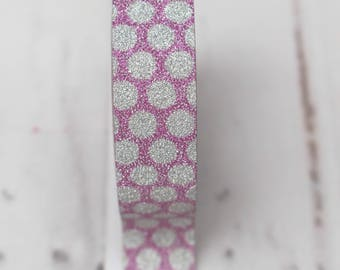 Silver with dark pink Washi Tape - 1 roll, 15mm x 10m, Silver with dark pink shiny  surface, glitter tape, shiny washi tape