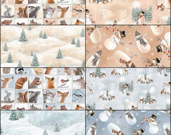 WOODLAND FRIENDS Fabric Collection by Quilting Treasures Christmas Festive