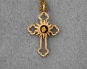 Nativity Stone Sterling Vermeil Cross Necklace Vintage 1996