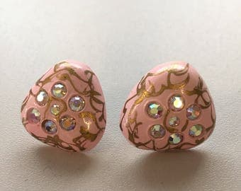 Vintage 50s Pink Gold sparkly earrings