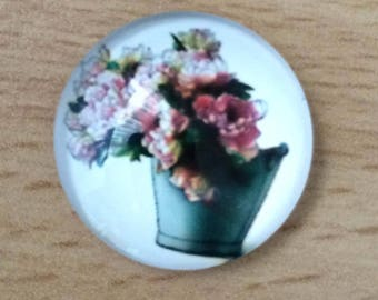 pretty flower bouquet 02 pattern glass cabochon pendant
