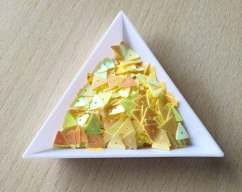 cute little sequin triangular iridescent yellow 7 mm