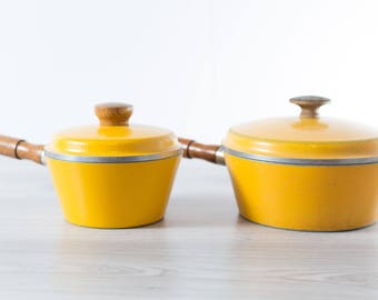 Yellow Cooking Pots / Vintage Westbend Superhealth Elite Heavy Lidded Pots with Wood Handles Pair of Vintage  Stovetop Cooking Pots
