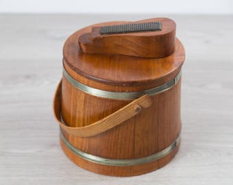 Vintage Wood Shoe Shine Bucket - Wood Grain Barrel and Brass Bucket - Mid Century Rustic Western Country Cobblers and Shoemakers Cordwainers