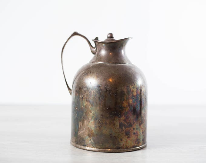 Vintage Water Pitcher / Silver Plated Metal Thermal Pitcher / Silver Thermos