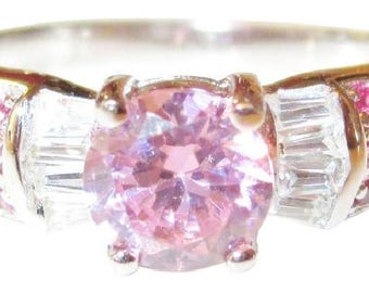 Natural Ruby and Pink Topaz and White Topaz 925 Sterling Silver Ring 7